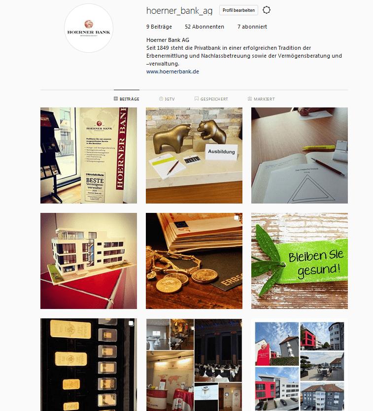 Hoerner Bank AG ab sofort auch auf Instagram!